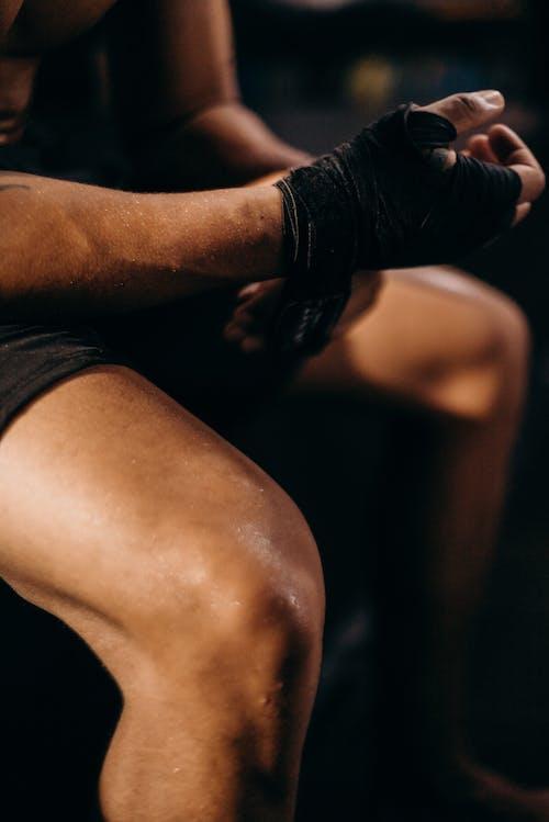 Kostenloses Stock Foto zu athlet, bein, boxer, detail