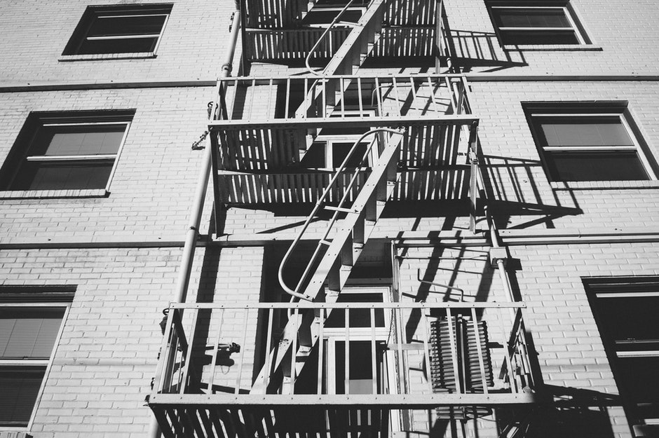 black-and-white, emergency, fire escape