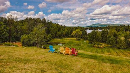 Free stock photo of Adirondack Chairs, beautiful, countryside, green