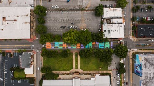 Roadway with Black Lives Matter title between lawn and parking