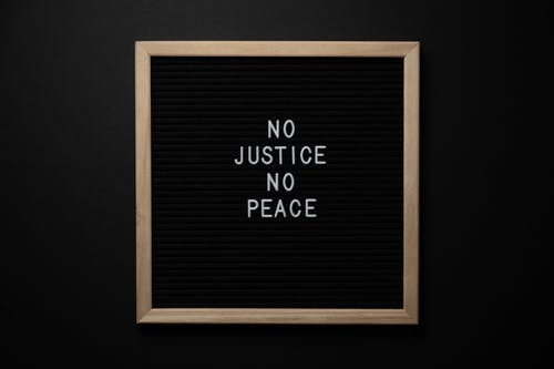 Blackboard with NO JUSTICE NO PEACE title