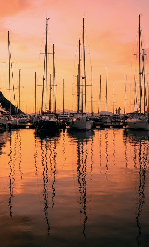 Yachts on a Harbour during Sunset