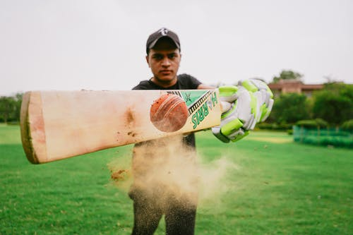 Male cricket player hitting ball
