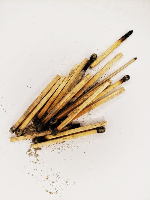 Bunch of matchsticks on white background