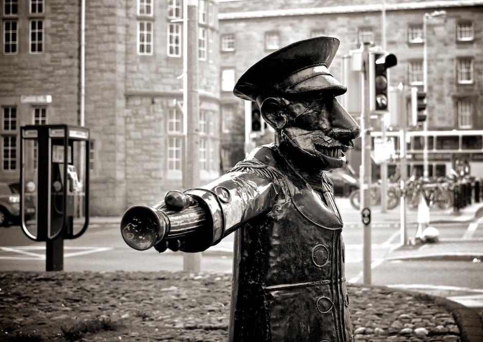 black-and-white, police, statue