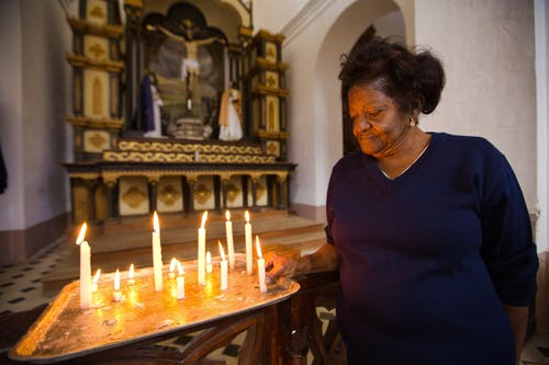 Black elderly woman in church