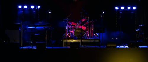 Free stock photo of drum set, lights