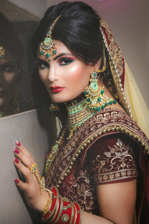 Serious Indian bride in traditional apparel