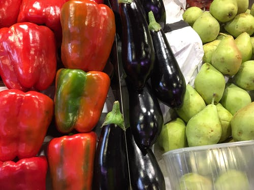Free stock photo of aubergines, pears, spanish peppers