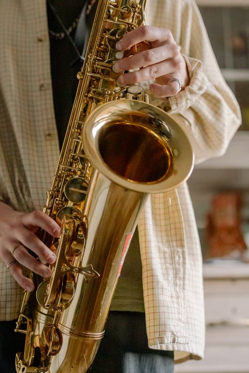 Brass Saxophone on White and Brown Plaid Textile