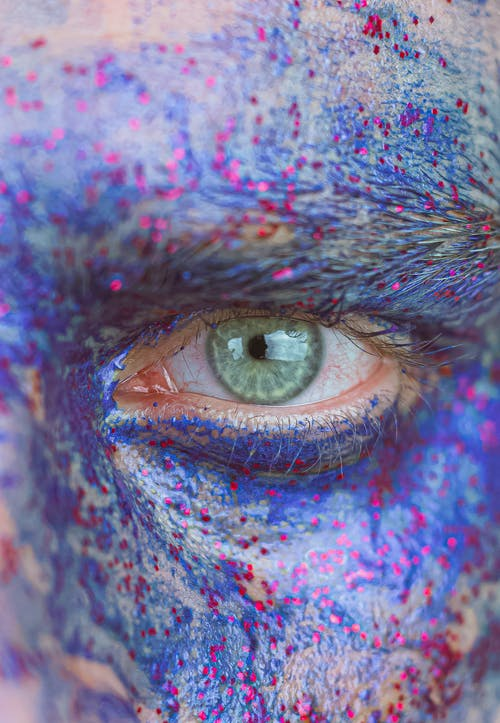 Blue and Red Eye With Blue and Purple Eye