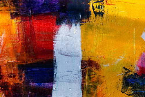 White Red Yellow and Purple Abstract Painting