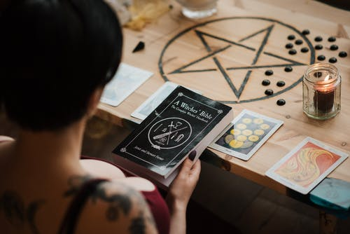 Faceless fortune teller with textbook during divination process