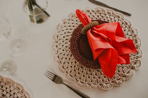 Set of banquet table with red napkin
