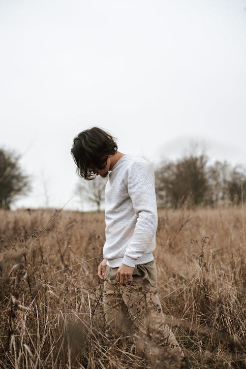 孤獨的人,站在農村的草草甸