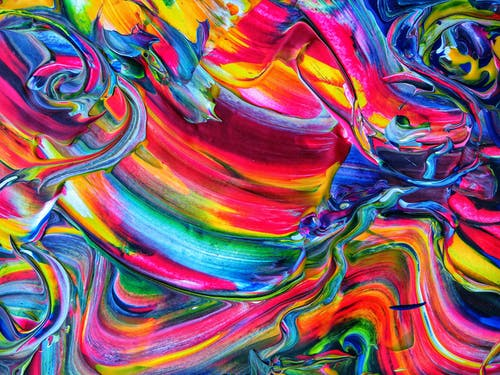 Red Yellow Green and Blue Abstract Painting