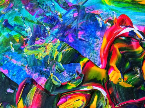 Blue Red and Green Abstract Painting
