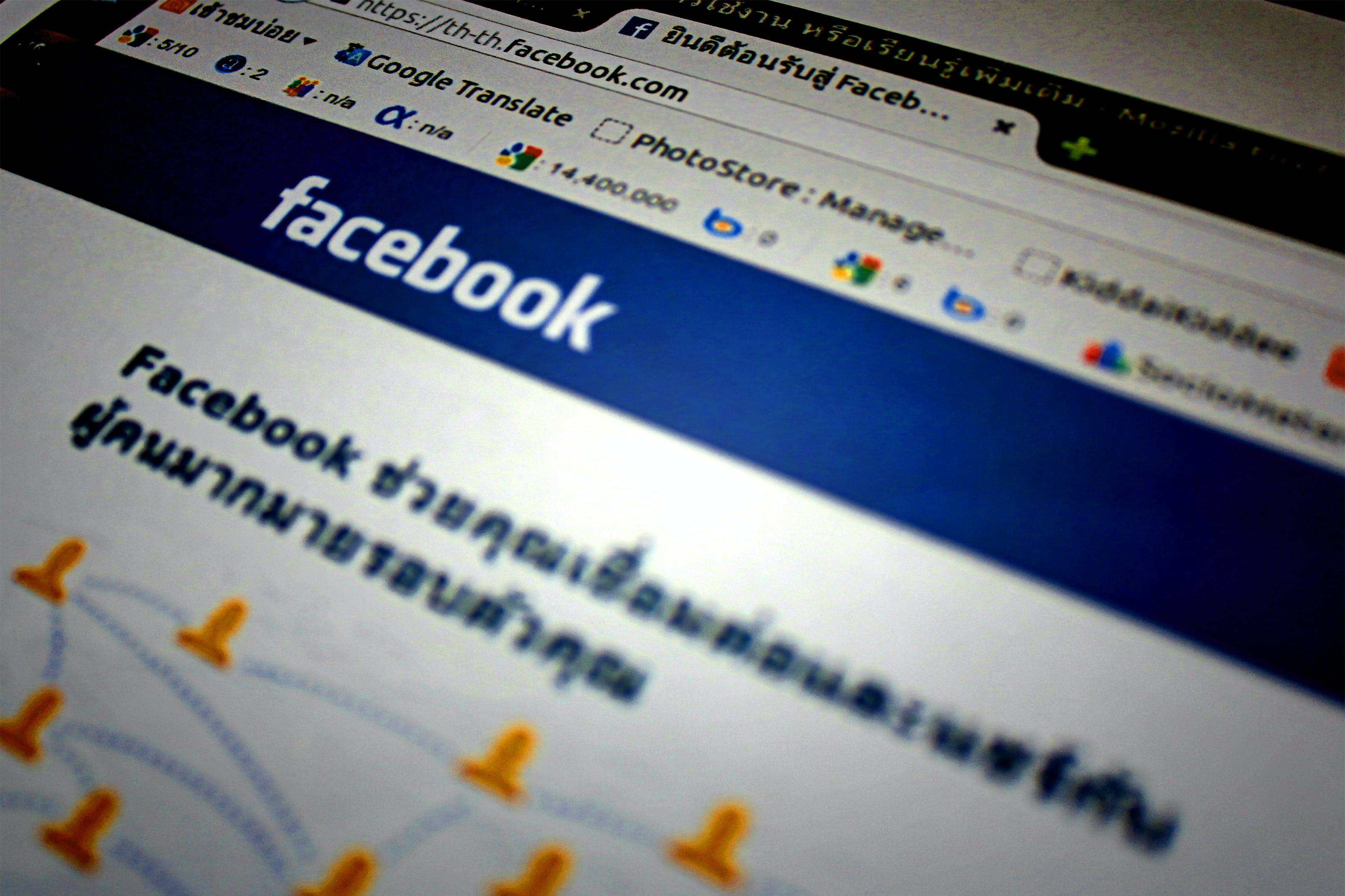 Kostenloses Stock Foto zu bildschirm, browser, facebook, fokus