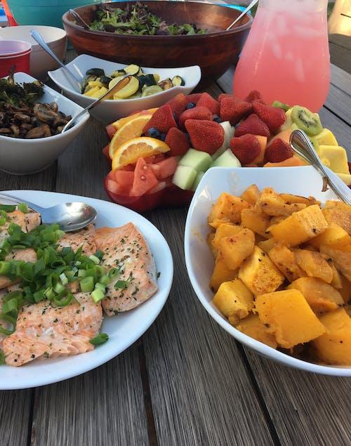 Free stock photo of fruit, lemonade, picnic, salmon