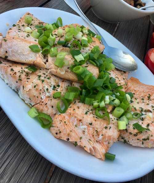Free stock photo of diner, dinner, poached salmon, salmon