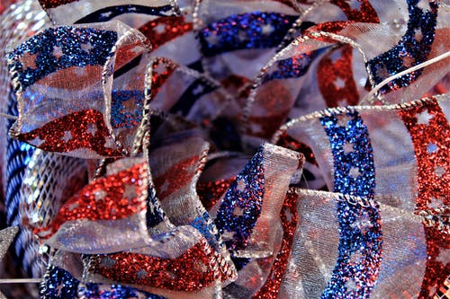 Red White and Blue Glitters On Textile