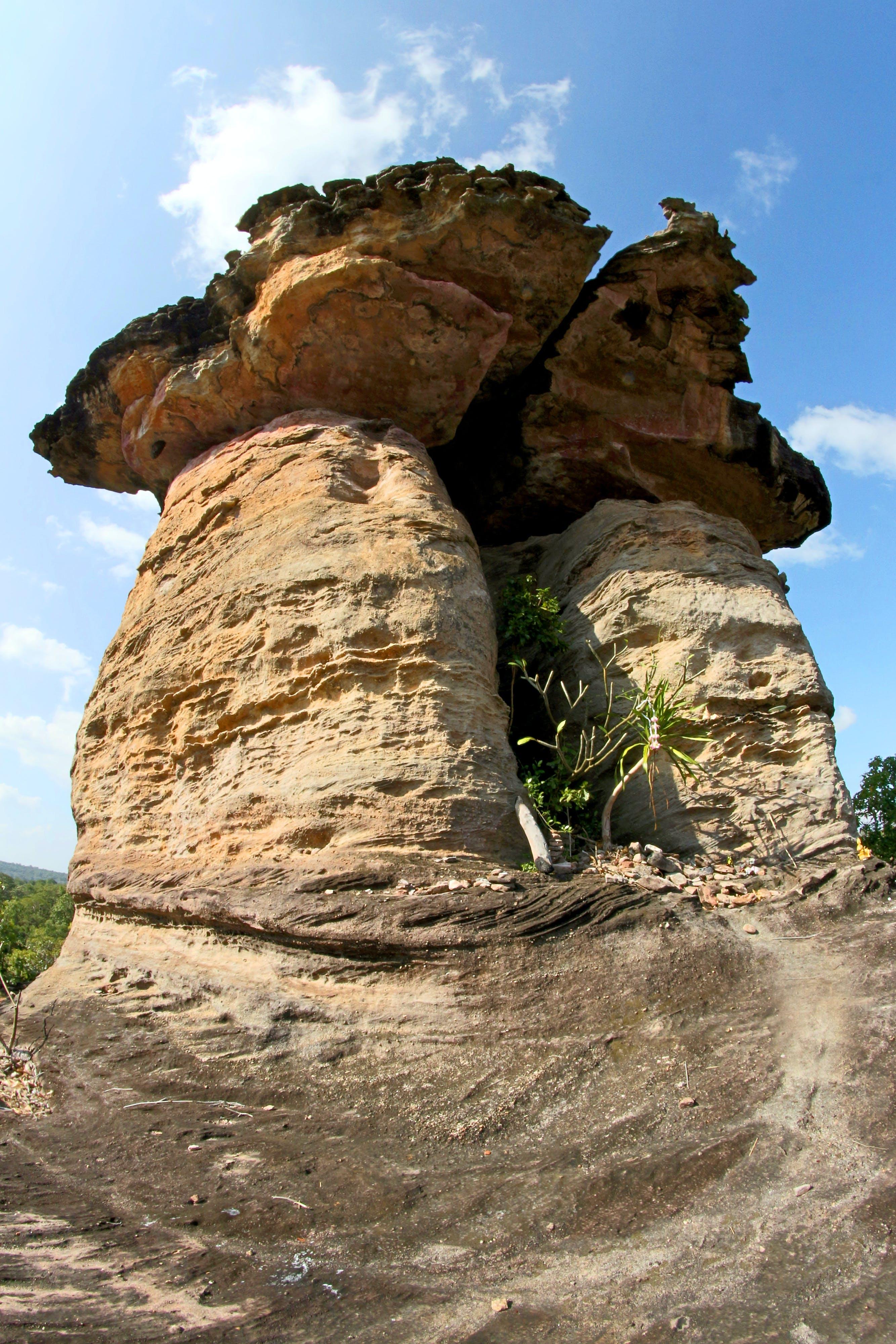 Rock Monolith Under Blue Sky