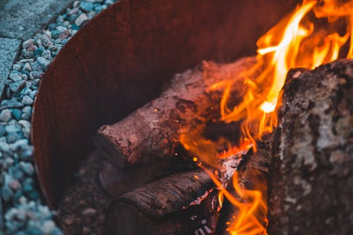 Burning wood in fire bowl