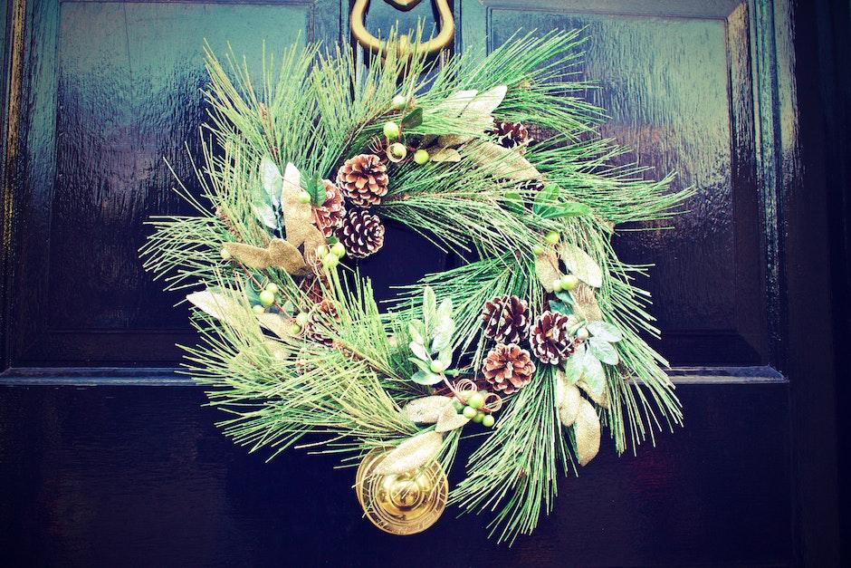 christmas, decoration, door