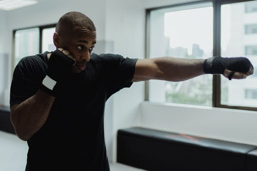 Man in Straight Punching Boxing Position