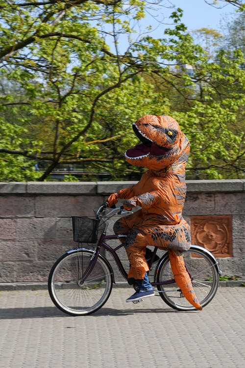 Unrecognizable person in dinosaur costume riding bicycle