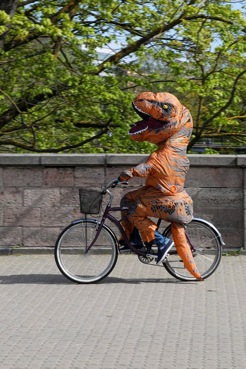 Person in dinosaur costume riding bicycle