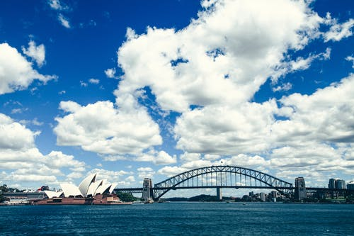 Sydney Opera House Under Blue and White Sunny Cloudy Sky
