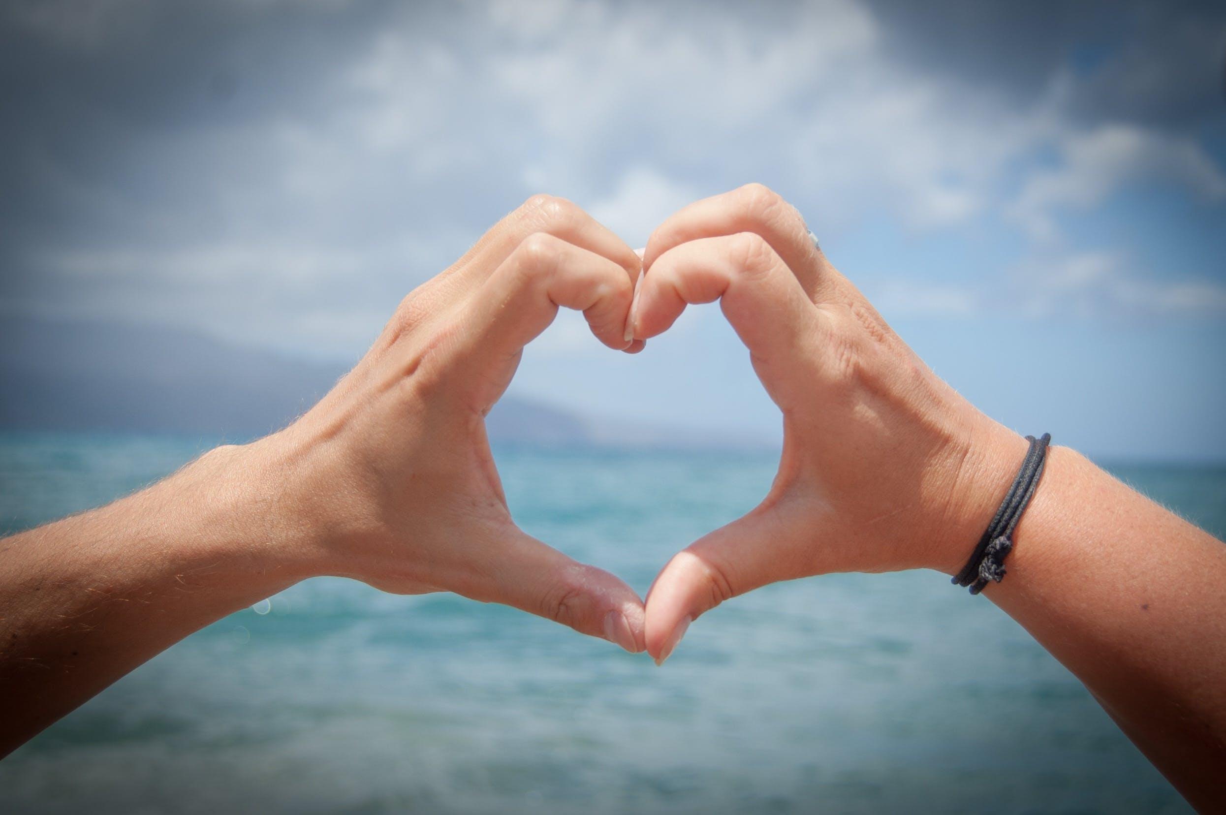 Free stock photo of beach, hands, love, heart