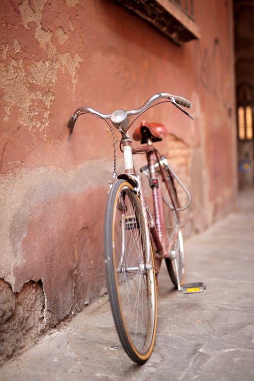Black and Silver City Bicycle Leaning on Brown Wall