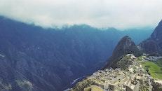 bird's eye view, landscape, mountains