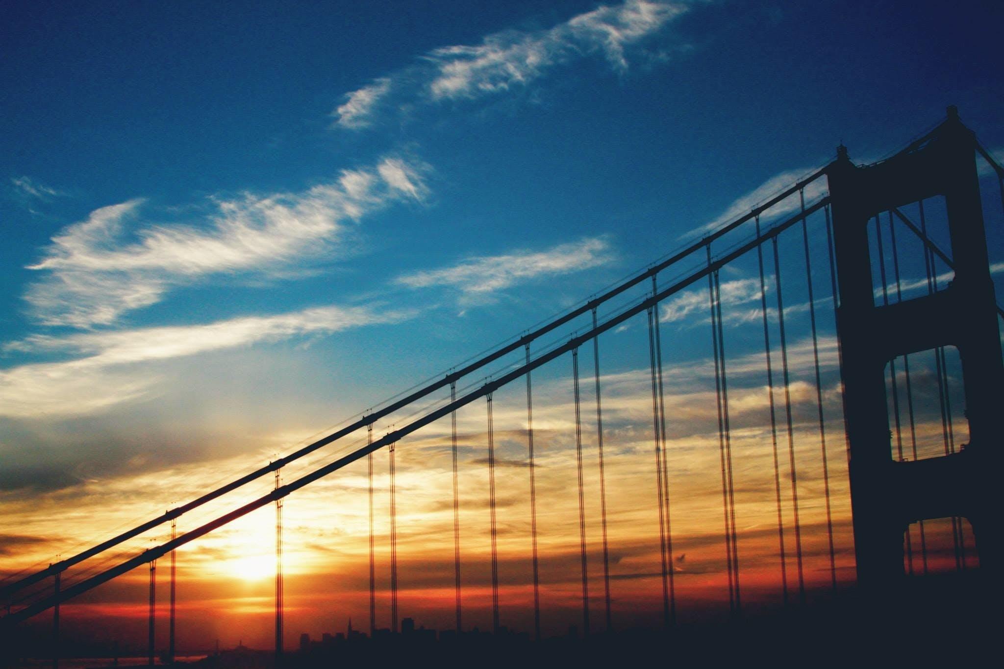Golden Gate Bridge Under Blue Skies during Sunset