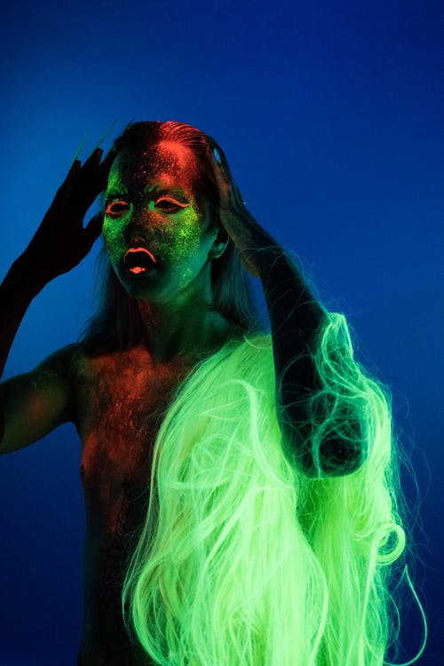 Woman With Green Hair and Body Paint