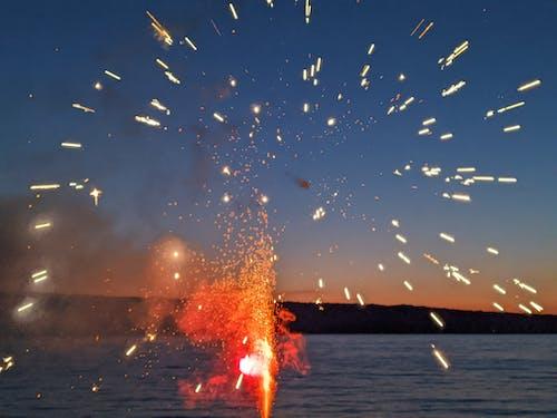 Free stock photo of fireworks, hills, lake