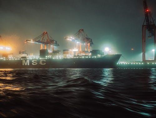 Free stock photo of cargo ship, foggy, hamburg harbour
