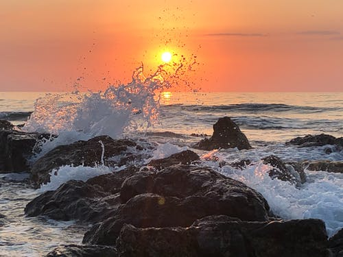 Rocky Shore during Sunset With Ocean Waves