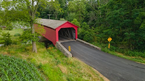 Free stock photo of covered bridge, drone view, Maryland