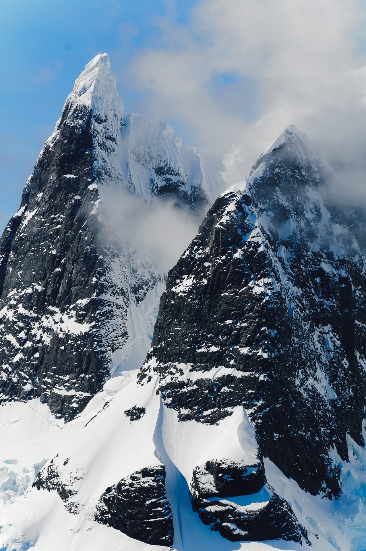 Black Snow Covered Mountain
