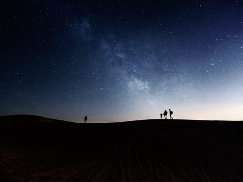 Silhouette of People Walking Outdoors under the Starry Sky