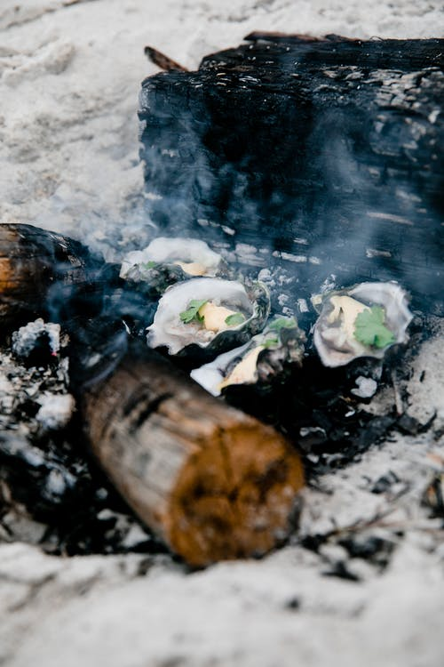 Shellfish cooked on bonfire in sand