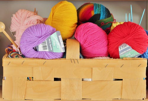 Purple Pink Yellow Red and Multi Colored Yarn Roll