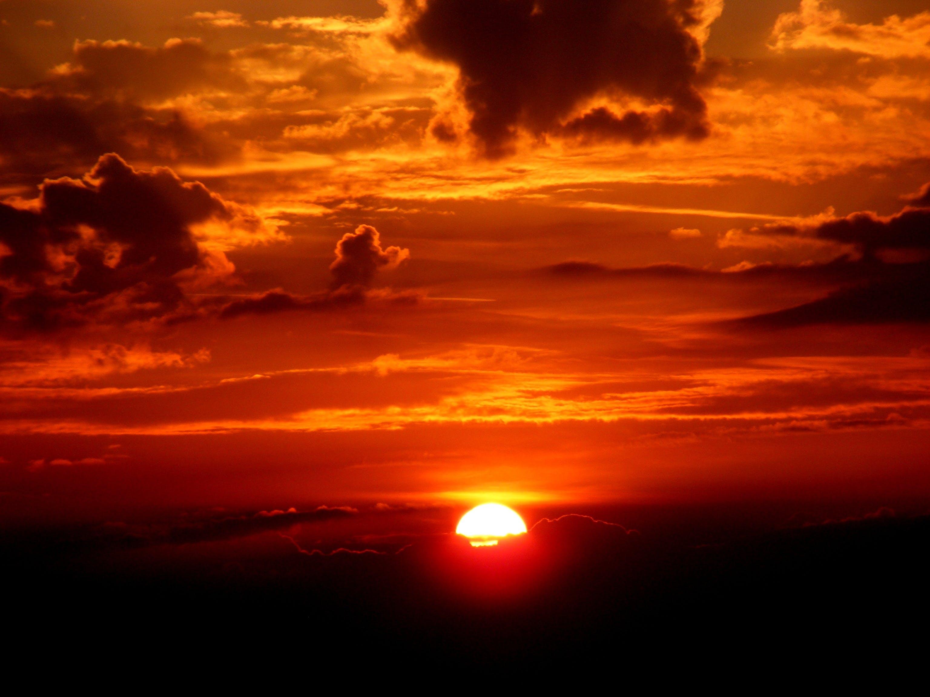 вечернее солнце, восход, горизонт
