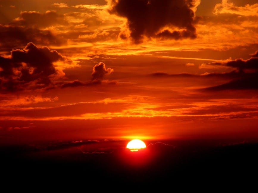 Sky sunset red sun