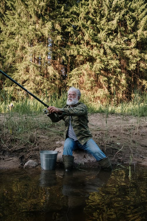 Man in Green and Black Camouflage Jacket Holding Black Fishing Rod