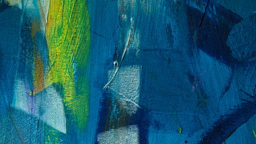 Green Blue and Black Abstract Painting