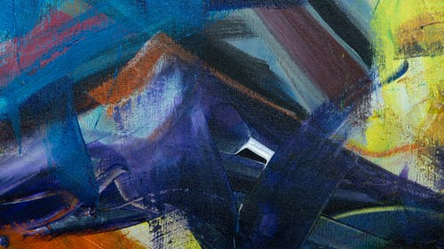 Blue and Brown Abstract Painting